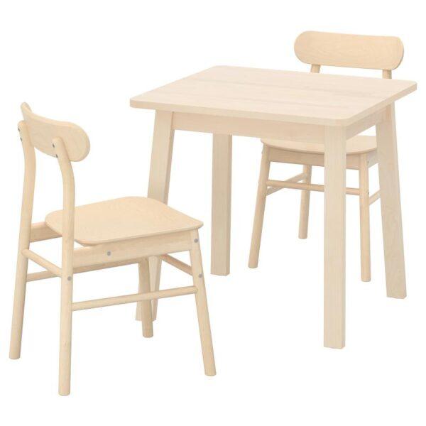 НОРРОКЕР / РЁННИНГЕ Стол и 2 стула, береза/береза 74x74 см - Артикул: 292.972.51
