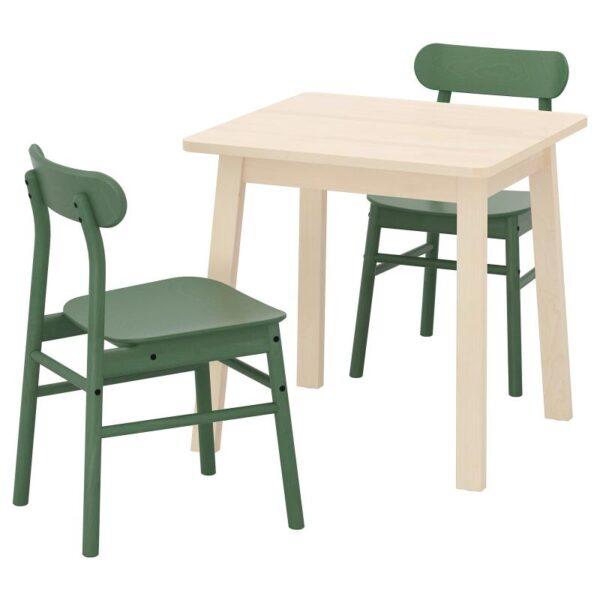 НОРРОКЕР / РЁННИНГЕ Стол и 2 стула, береза/зеленый 74x74 см - Артикул: 192.972.56