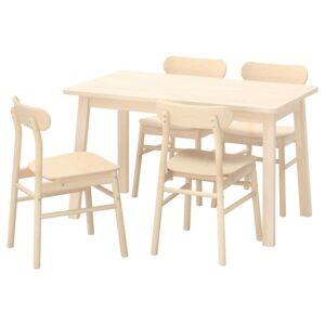 НОРРОКЕР / РЁННИНГЕ Стол и 4 стула, береза/береза 125x74 см - Артикул: 792.972.44