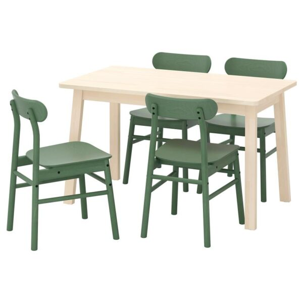 НОРРОКЕР / РЁННИНГЕ Стол и 4 стула, береза зеленый 125x74 см - Артикул: 292.972.46