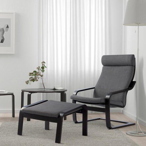 ПОЭНГ Кресло черно-коричневый/Шифтебу темно-серый - Артикул: 393.028.03