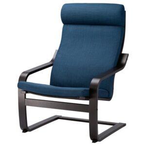 ПОЭНГ Кресло черно-коричневый/Шифтебу темно-синий - Артикул: 593.028.02