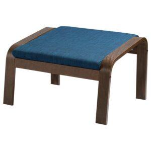 ПОЭНГ Табурет для ног, коричневый/Шифтебу темно-синий - Артикул: 193.028.18