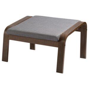 ПОЭНГ Табурет для ног, коричневый/Шифтебу темно-серый - Артикул: 393.028.17