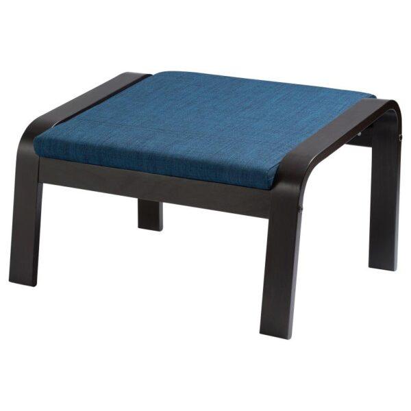ПОЭНГ Табурет для ног, черно-коричневый/Шифтебу темно-синий - Артикул: 093.028.14