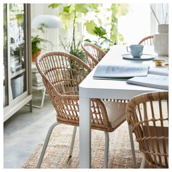 НИЛЬСОВЕ Легкое кресло, ротанг/белый - Артикул: 404.429.73