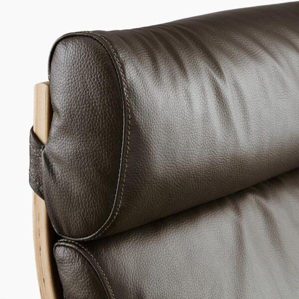 ПОЭНГ Кресло, дубовый шпон, беленый/Глосе темно-коричневый - Артикул: 192.817.07