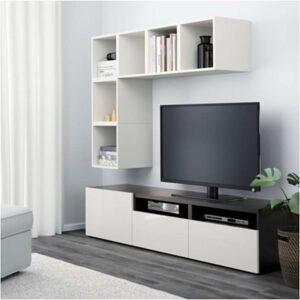 БЕСТО / ЭКЕТ Комбинация для ТВ белый/черно-коричневый/глянцевый/белый 180x40x170 см - Артикул: 292.755.98