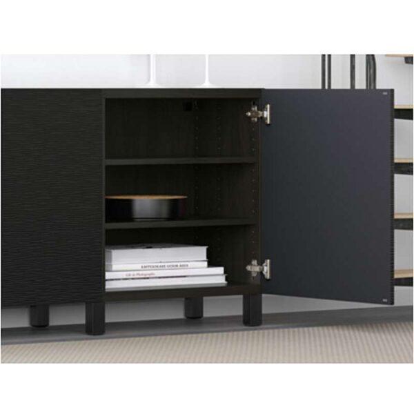 БЕСТО Комбинация для хранения с дверцами черно-коричневый/Лаксвикен черный 180x40x74 см - Артикул: 492.466.75