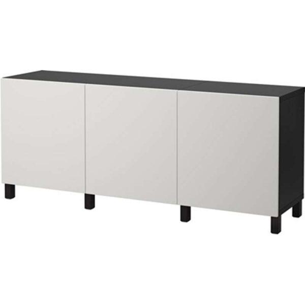 БЕСТО Комбинация для хранения с дверцами черно-коричневый/Лаппвикен светло-серый 180x40x74 см - Артикул: 192.466.91