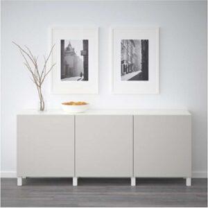 БЕСТО Комбинация для хранения с дверцами белый/Лаппвикен светло-серый 180x40x74 см - Артикул: 992.467.05