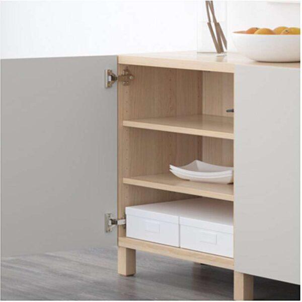 БЕСТО Комбинация для хранения с дверцами под беленый дуб/Лаппвикен светло-серый 180x40x74 см - Артикул: 392.467.13