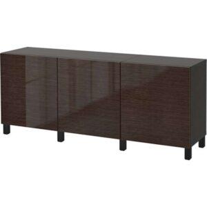 БЕСТО Комбинация для хранения с дверцами черно-коричневый/Сельсвикен глянцевый/коричневый 180x40x74 см - Артикул: 792.466.93
