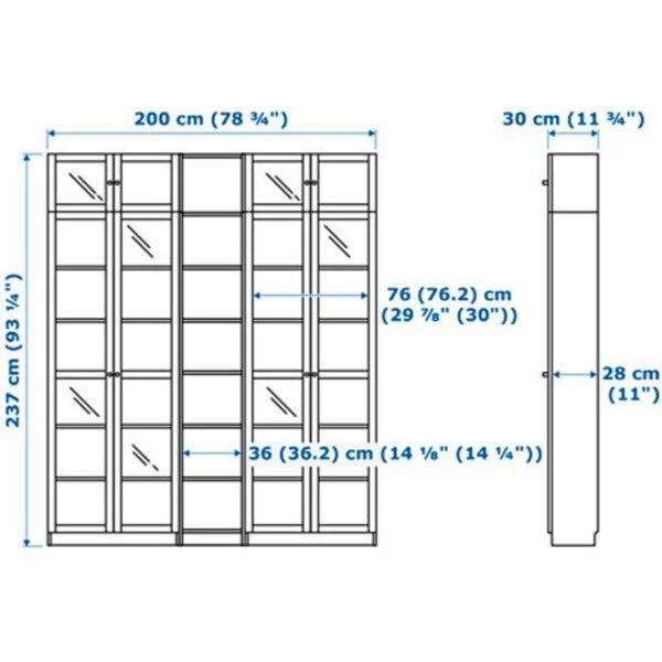 БИЛЛИ / ОКСБЕРГ Стеллаж коричневый ясеневый шпон 200x237x30 см - Артикул: 392.440.02