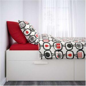 БРИМНЭС Каркас кровати с ящиками, белый + ламели Лурой, 140x200 см. Артикул: 192.107.29