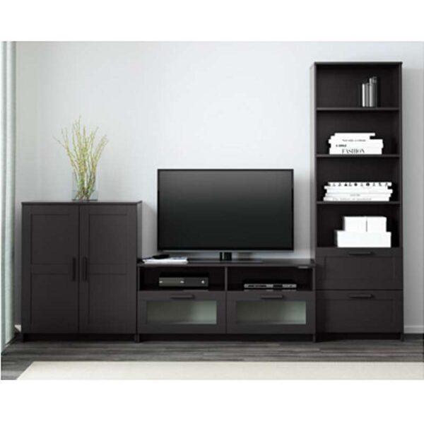 БРИМНЭС Шкаф для ТВ комбинация черный 258x41x190 см - Артикул: 992.397.62