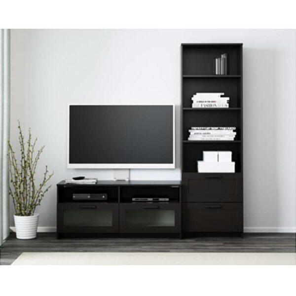 БРИМНЭС Шкаф для ТВ комбинация черный 180x41x190 см - Артикул: 792.397.58