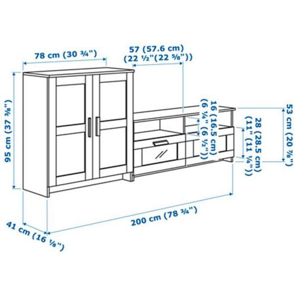 БРИМНЭС Шкаф для ТВ комбинация черный 200x41x95 см - Артикул: 392.397.60
