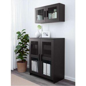 БРИМНЭС Шкаф с дверями стекло/черный 78x95 см - Артикул: 403.833.46