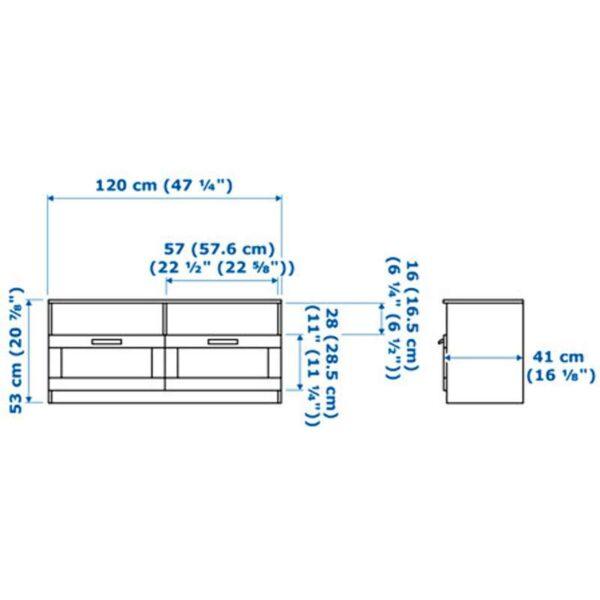 БРИМНЭС Тумба под ТВ черный 120x41x53 см - Артикул: 303.910.21
