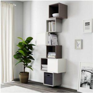 ЭКЕТ Комбинация настенных шкафов белый/темно-серый/светло-серый 80x35x210 см - Артикул: 191.891.34