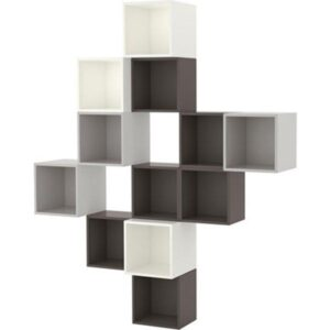 ЭКЕТ Комбинация настенных шкафов белый/темно-серый/светло-серый 175x35x210 см - Артикул: 691.891.55