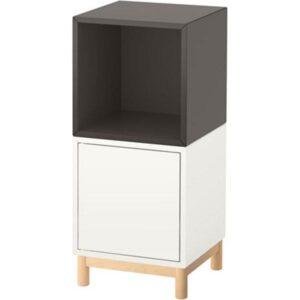 ЭКЕТ Комбинация шкафов с ножками белый/темно-серый 35x35x80 см - Артикул: 191.907.31