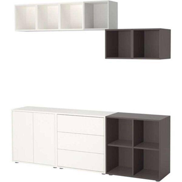 ЭКЕТ Комбинация шкафов с ножками белый/светло-серый/темно-серый 210x35x180 см - Артикул: 791.910.30