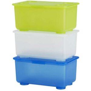 ГЛИС Контейнер с крышкой белый/светло-зеленый/синий 17x10 см - Артикул: 903.659.91