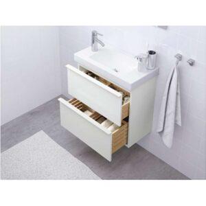 ГОДМОРГОН Шкаф для раковины с 2 ящ глянцевый белый 60x32x58 см - Артикул: 303.690.01