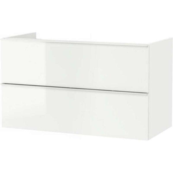 ГОДМОРГОН Шкаф для раковины с 2 ящ глянцевый белый 100x47x58 см - Артикул: 303.495.84