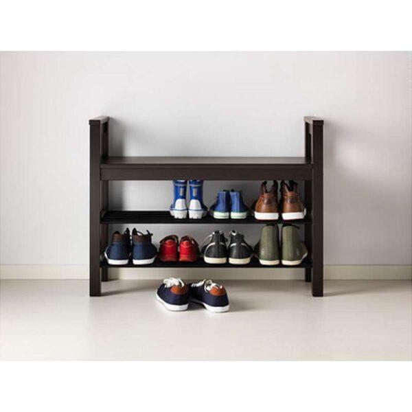 ХЕМНЭС Скамья с полкой для обуви черно-коричневый 85x32 см - Артикул: 703.884.13