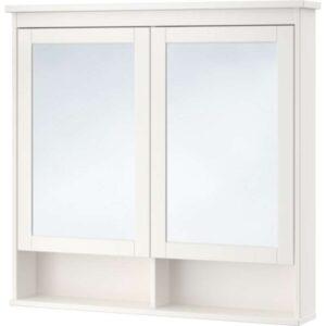 ХЕМНЭС Зеркальный шкаф с 2 дверцами белый 103x16x98 см - Артикул: 303.690.15
