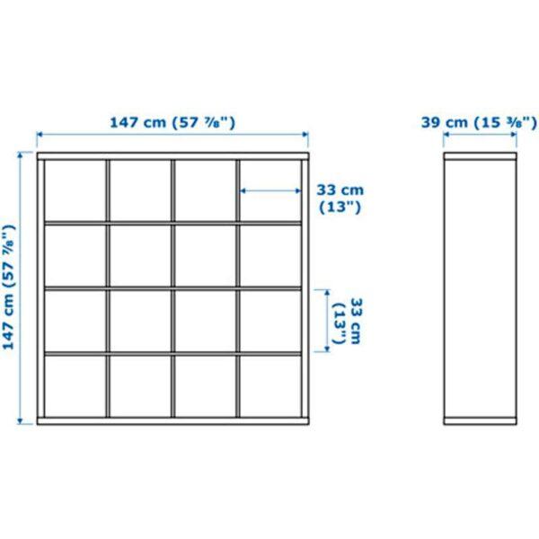 КАЛЛАКС Стеллаж с 4 вставками черно-коричневый/черный 147x147 см - Артикул: 892.281.08