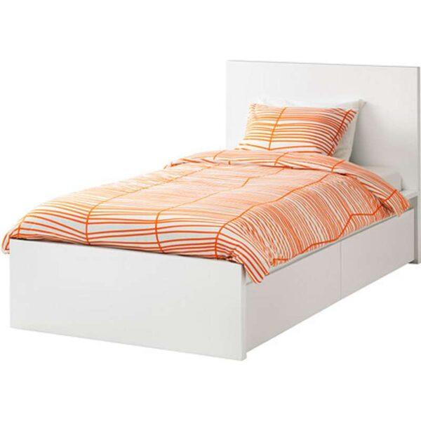 МАЛЬМ Каркас кровати+2 кроватных ящика, белый + ламели Лурой, 90x200 см. Артикул: 692.109.96