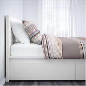 МАЛЬМ Каркас кровати+2 кроватных ящика, белый + ламели Лурой, 160x200 см. Артикул: 692.110.19