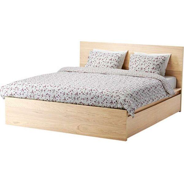 МАЛЬМ Каркас кровати+2 кроватных ящика, дубовый шпон, беленый + ламели Лурой, 160x200 см. Артикул: 092.109.37