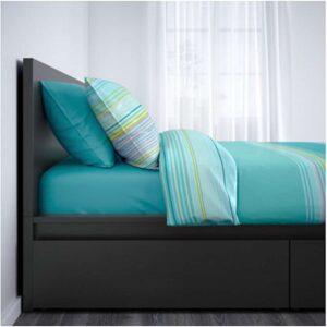 МАЛЬМ Каркас кровати+2 кроватных ящика, черно-коричневый + ламели Лурой, 160x200 см. Артикул: 292.109.98
