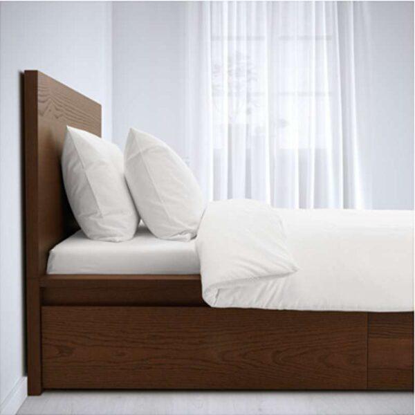 МАЛЬМ Каркас кровати+2 кроватных ящика, коричневая морилка ясеневый шпон + ламели Лурой, 160x200 см. Артикул: 592.108.93