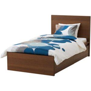 МАЛЬМ Каркас кровати+2 кроватных ящика, коричневая морилка ясеневый шпон + ламели Лурой, 90x200 см. Артикул: 992.109.14