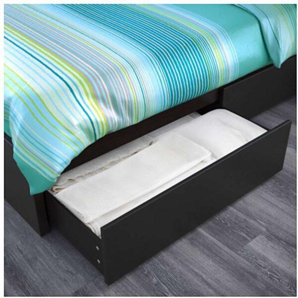 МАЛЬМ Каркас кровати+2 кроватных ящика, черно-коричневый + ламели Лонсет, 160x200 см. Артикул: 092.109.99