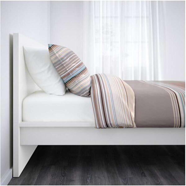 МАЛЬМ Каркас кровати, высокий, белый + ламели Лурой, 90x200 см. Артикул: 592.109.92