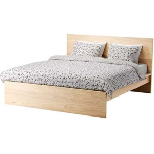 МАЛЬМ Каркас кровати, высокий, дубовый шпон, беленый + ламели Лурой, 160x200 см. Артикул: 392.109.45