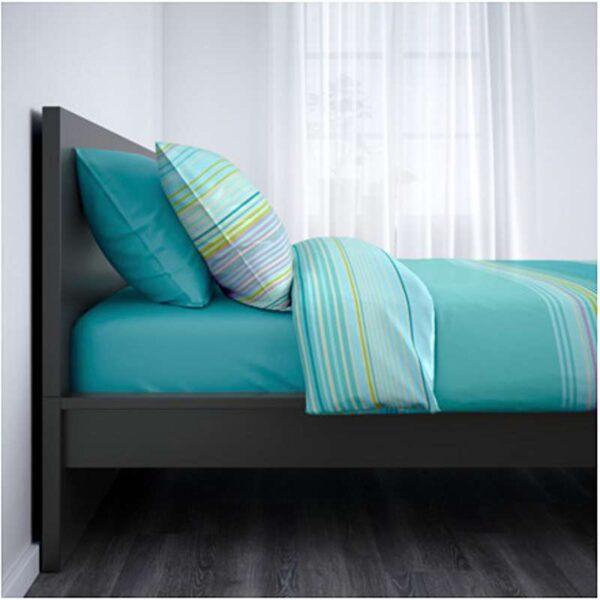 МАЛЬМ Каркас кровати, высокий, черно-коричневый + ламели Лурой, 160x200 см. Артикул: 892.110.04