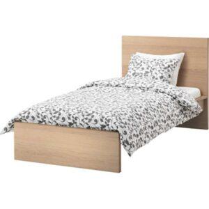 МАЛЬМ Каркас кровати, высокий, дубовый шпон, беленый + ламели Лонсет, 90x200 см. Артикул: 692.278.88