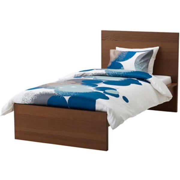 МАЛЬМ Каркас кровати, высокий, коричневая морилка ясеневый шпон + ламели Лонсет, 90x200 см. Артикул: 992.278.77