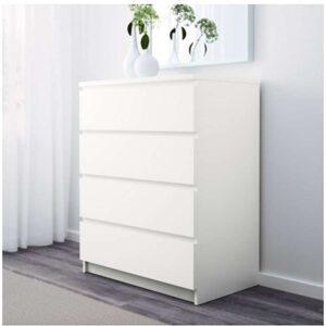 МАЛЬМ Комод с 4 ящиками белый 80x100 см - Артикул: 003.685.45