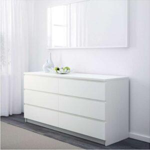 МАЛЬМ Комод с 6 ящиками белый 160x78 см - Артикул: 003.685.50