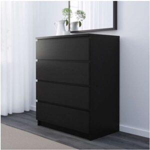 МАЛЬМ Комод с 4 ящиками черно-коричневый 80x100 см - Артикул: 903.685.41