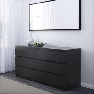 МАЛЬМ Комод с 6 ящиками черно-коричневый 160x78 см - Артикул: 603.685.47